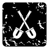Two crossed shovels icon, grunge style Royalty Free Stock Photo