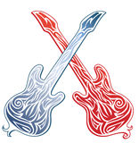 Two crossed stylized guitars. Red and blue Royalty Free Stock Images