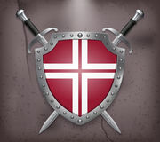 Two Crossed Swords that are Behind the Shield Royalty Free Stock Images