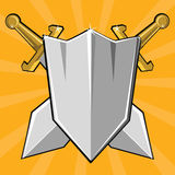 Two crossed swords and shield Royalty Free Stock Photos