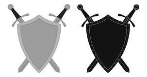 Two crossed swords steel shield emblem.  Stock Photos