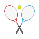 Two crossed tennis racket and ball. Royalty Free Stock Photography