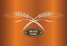 Two crossed wheat ears. Logo brand icon template. Two crossed wheat ears, vector. Logo brand icon template royalty free illustration
