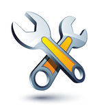 Two crossed wrenches Stock Images