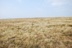 Two crosses in a field remembering the WWI battle of Kajmakchalan. Two crossed in a field near the top of mount Kajmakchalan on the Greek-Macedonian border near Royalty Free Stock Photos