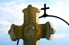 Two crosses at a graveyard Royalty Free Stock Images