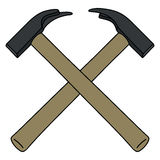 Two crossing hammers Royalty Free Stock Images