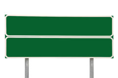 Two Crossroads Road Signs, Green Isolated Traffic Sign Copy Space Background, Large Detailed Closeup, White Frame Stock Photos