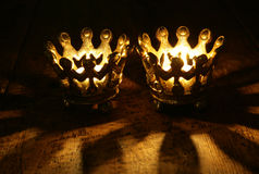 Two Crown candles. Still life portrait Stock Photo