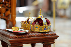 Two crowns as orthodox wedding accessories Royalty Free Stock Photos