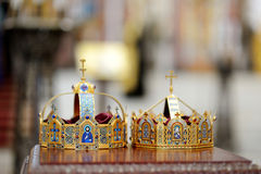 Two crowns as orthodox wedding accessories Royalty Free Stock Photography