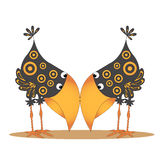 The two crows. Cartoon two crows buried their noses in each other Stock Illustration