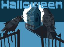 Two crows in are in the night. Two halloween black crows are waiting in cimetery under the moon royalty free illustration