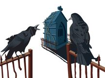 Two crows on portal are talking. Two crows are on a portal with house of tombstone in back Vector Illustration