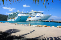 Two cruise liners in the caribbean. Having a vacation on board the cruise ship traveling in the Caribbean royalty free stock photos