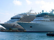 Two cruise ships Stock Images