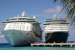 Two Cruise Ships. Docked Side by Side royalty free stock photos