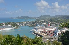 Two Cruise Ships  in Capital of St Lucia Royalty Free Stock Photo
