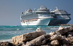 Two Cruise Ships Docked royalty free stock photos