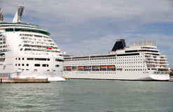 Cruise Ships in Venice Port. Two cruise ships docked in the port of Venice, Italy Stock Photos