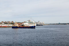 Two Cruise Ships and Freighter in Halifax Stock Image