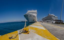 Two cruise ships in harbor panorama. View Royalty Free Stock Image