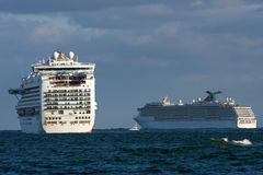 Two Cruise Ships Head Out To Sea Stock Image