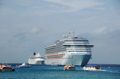 Two cruise ships near Caribbean islands stock image
