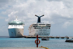 Two Cruise ships at port Royalty Free Stock Images