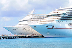 Two Cruise ships at port Stock Photos