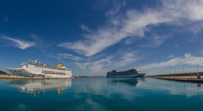 Two cruise ships on the sea panorama. View Stock Images