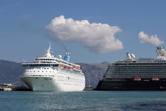 Two cruiser ship in port Corfu Stock Photo