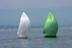 Two cruising sailboats Royalty Free Stock Image