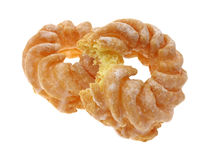 Two crullers with one bitten Stock Image