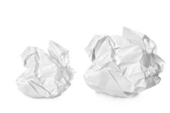 Two crumpled papers Royalty Free Stock Photo