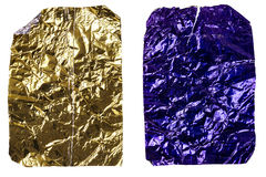 Two crumpled pieces of aluminum foil Royalty Free Stock Photography