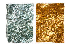 Two crumpled pieces of aluminum foil Stock Photography