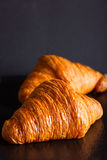 Two crunchy croissants Royalty Free Stock Photography