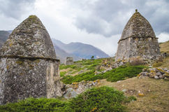 Two crypt and between them and the mountain. In Kabardino-Balkaria Royalty Free Stock Image