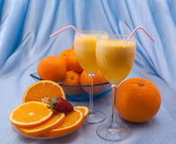 Two crystal glass of fresh orange juice Stock Image