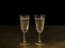 Two crystal glasses with white wine Royalty Free Stock Photo
