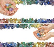 Two Crystal Healing Website Banners. Two versions of a Crystal Healer holding crystals on a white background with crystals laid at the top and bottom Stock Image