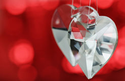 Two crystal hearts Royalty Free Stock Photos