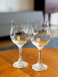 Two crystal wine glasses Royalty Free Stock Photo