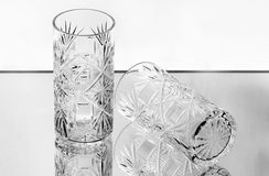 Two crystal wineglasses on the mirror Royalty Free Stock Images
