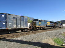Two CSX locomotives pulling cargo train in West Haverstraw, NY. Stock Photography