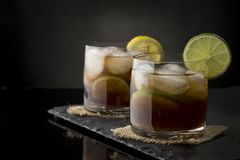 Two Cuba Libre Cocktails Royalty Free Stock Photos