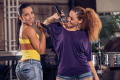 Two Cuban female singers Royalty Free Stock Image
