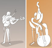 Two cubistic musicians. Playing on instruments Royalty Free Stock Photo