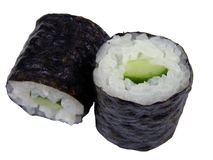 Two cucumber maki rolls Royalty Free Stock Image